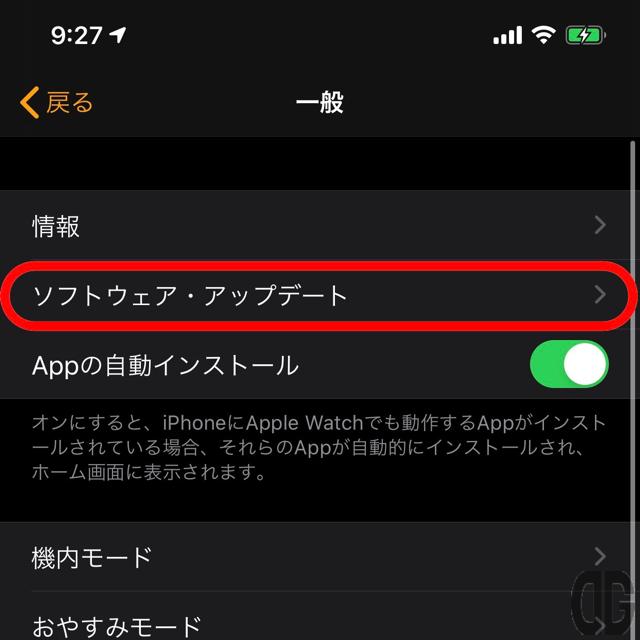【ソフトウェア・アップデート】をタップ