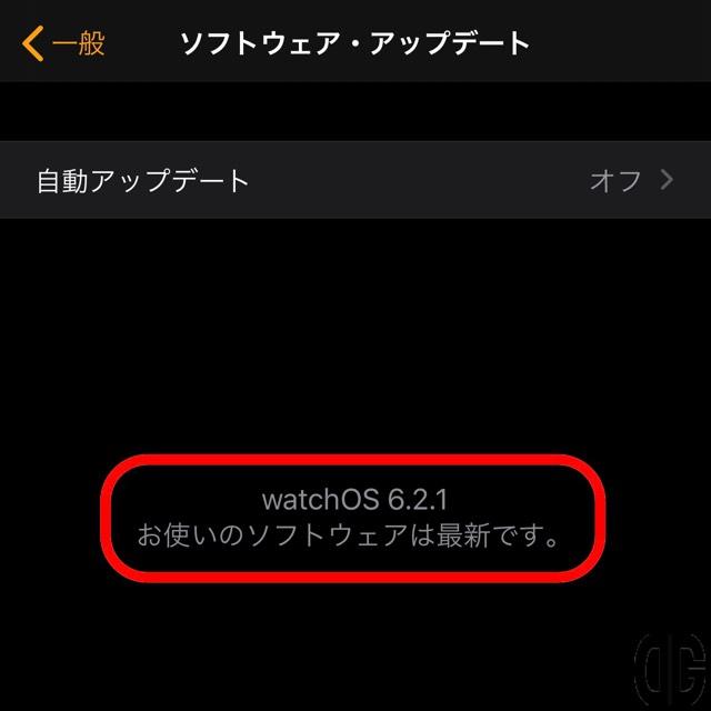 「watchOS 6.2.1 お使いのソフトウェアは最新です。」と表示