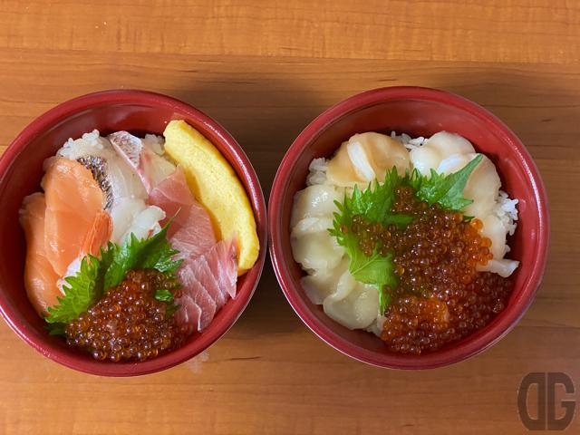 特上5種の海鮮丼と特上帆立といくら丼